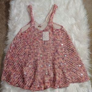 Free people peach knit Sleeveless tunic to size xs